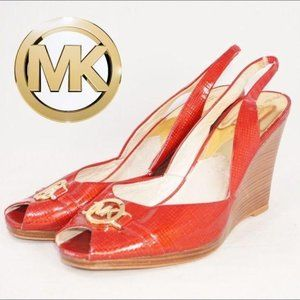 Michael Kors Red Peep Toe Slingback Wedges, Sz 10